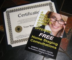 certified real estate home staging advisor certificate and book