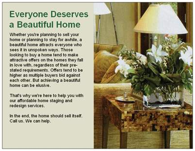 home staging postcard